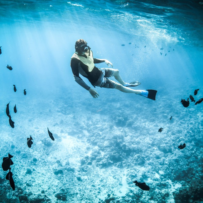 Man Snorkeling in turks and Caicos